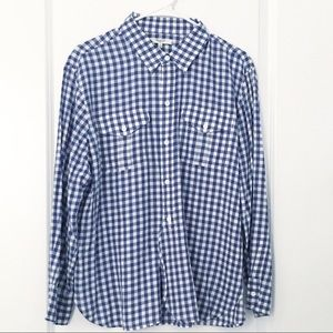 Madewell Navy & White Gingham Popover Top